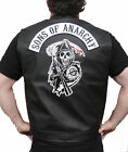 Sons Of Anarchy Faux Leather Embroidered Official Vest Cut SOA Patch & Rocker