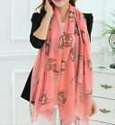 US Cute Owl Stole Soft Viscose Voile Scarf Wrap long shawl fashion Korean animal