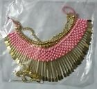 Antique Designer Gold Plated Choose Color Fabric PartyWear Necklace with earings