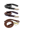 New Genuine Leather Braided Dog Lead With Heavy Duty Brass Clip.