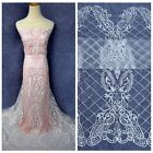 Fashion show high quality on net embroidered off White/wine lace fabric by yard