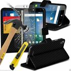 Leather Book Wallet Phone Case Cover+Glass Screen Protector for Acer