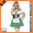 Womens Green German Oktoberfest Beer Maid Kiss Dirndl Ladies Fancy Dress Costume