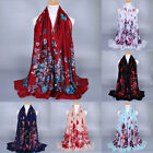 New Fashion Lady Flower Women's Long Soft Wrap Shawl Silk Voile Scarf Scarves