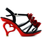 New Sexy Black & Red Frill/Ruffle Heart Heels Sandals Size 4/5/6/7/8.5/9