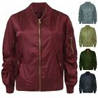 Ladies Womens Retro MA1 Flight Lightweight Classic Bomber Biker Vintage Jacket