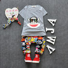 2Pcs Baby Boy Girls Cotton T-shirt Hooded Pants Toddler Clothes Set Outfits