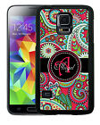 PERSONALIZED RUBBER CASE FOR SAMSUNG S4 S5 S6 HOT PINK PAISLEY