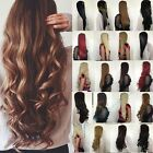 Half Wig Clip In Hair Piece 3 4 Wig Fall long Cheap Wavy Curly Straight Ombre US