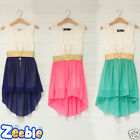 Girls Summer Dress Lace Bodice Free Necklace Kids Age 2-12 Years Holiday Party