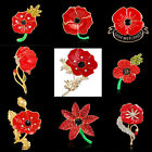 Remembrance Red Poppy Flower Lapel Crystal Pin Brooch Women Broach Badge Banquet
