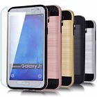 For Samsung Galaxy J7 Rugged Hybrid Protection Case Cover +Tempered Glass Screen