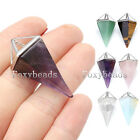 Mens Womens Silver Pyramid Cone Quartz Gemstone Bead Pendant fit Necklace DIY