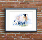 Fine Art Print of My Original Sheep Watercolour Painting Signed A3 A4 Brand New