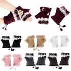 Fashion Womens Warm Winter Rabbit Fur Leather Suede Adjustable Fingerless Gloves