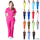 Внешний вид - Women's Mock Wrap Medical Hospital Nursing Clinic Scrub Set Uniform Top & Pants