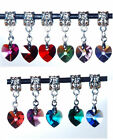 Clip on Crystal Heart for Charm Bracelets - using Swarovski Elements - UK Seller