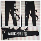 Victoria's Secret Sport Work For It VSX Black White Knockout Tights -Reg. XS, M