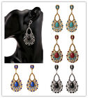 Vintage Ethnic Rhinestone Crystal Teardrop Dangle Stud Earrings Fashion Jewelry