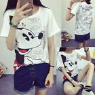 Cute cartoon girls Cotton Mouse white loose short sleeve T-shirt Tops Blouse US