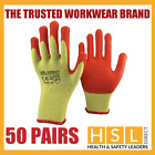 50 PAIRS HSL DIRECT LATEX GRIPPER SAFETY WORK GLOVES BUILDER GARDENING ROOFING