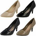 Ladies Spot On F9905 Synthetic Patent Mid Heel Court Shoes