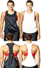 Womens Stringer Vest Loose Fit Gym Sports Active Exercise Tank Top Tee Ladies