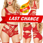 Women's Crop Top & Panty Red Sheer Floral Rose Lace Lingerie Teddy Bikini S-4XL