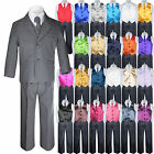 7pc Boys Toddler Kids Formal Wedding Tuxedo Dark Gray Sui...
