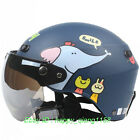 F#24 Half Face Scooter Bicycle Casco Motorcycle Matt Blue animal Elephant Helmet