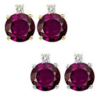 0.01 Carat Diamond Round Alexandrite Gemstone Earrings 14KWhite Yellow Gold