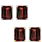6mm Octogon CZ Garnet Birthstone Gemstone Stud Earrings 14K White Yellow Gold
