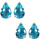8x5mm Pear CZ Blue Topaz Birthstone Gemstone Stud Earrings 14K White Yellow Gold