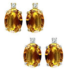 0.01 Carat TCW Diamond Oval Citrine Gemstone Earrings 14K White Yellow Gold