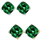 6mm Cushion CZ Emerald Birthstone Gemstone Stud Earrings 14K White Yellow Gold