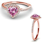 8MM Pink Topaz Birth Gem Stone Halo Solitaire Heart Love Ring 14K Rose Gold