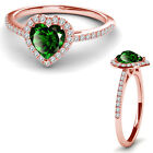 8MM Emerald Birth Gem Stone Halo Solitaire Heart Love Charm Ring 14K Rose Gold