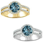 1.75 Carat Diamond Aquamarine GemStone Halo 14K White/Yellow Gold Solitaire Ring