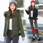 Jacket Winter Women Down Cotton Short Slim Fur Collar Hooded Coat Outwear