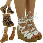 WOMENS LADIES MULTI  STRAP PLATFORM HIGH HEEL WEDGES LACE UP SHOES SANDALS SIZE