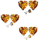 7mm Heart CZ Citrine Birth Gemstone Stud Earring Strling Silver 14k Gold Plated