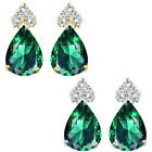 Pear Shape Emerald Gem Birth stone Earrings Silver White/Yellow Gold Plated