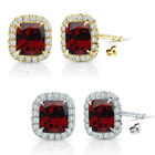 6mm Garnet Birthstone Gem Stud Halo Solitaire Cushion Silver Earrings