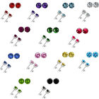 4mm Select Birthstone Gem Color Basket Stud Solitaire Round Silver Earrings WG