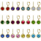 Birthstone Stud Hoop Huggies Halo Solitaire Round Silver Dangling Earrings YG