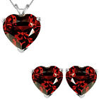6mm Heart CZ Garnet Birth Gemstone Pendant Earring Set 14K White Yellow Gold