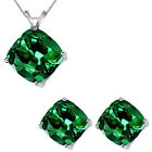 6mm Cushion CZ Emerald Birthstone Pendant Earring Set 14K White Yellow Gold