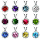 """5mm  Birthstone Gem Halo Solitaire Round Silver Pendent Necklace 18"""" Chain WG"""