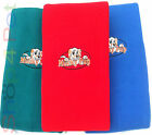 Dog Fleece Blanket Mucky Paws Design , Large in Blue & Green, Small in Red.