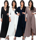 NEW Womens Long Sleeve Elegant Cross Over Split Ruffle Maxi Dress S M L XL 2X
